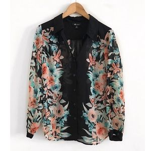 AB Studio Top Blouse Shirt Size M
